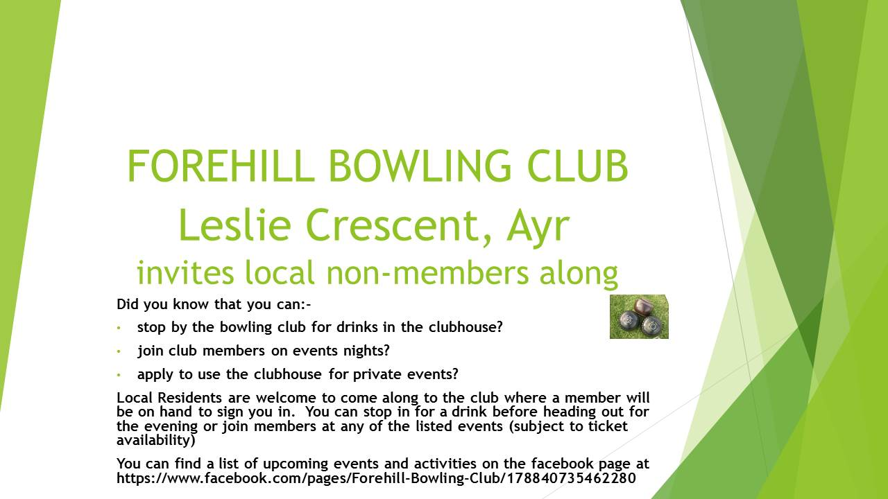 What's on at Forehill Outdoor Bowling Club