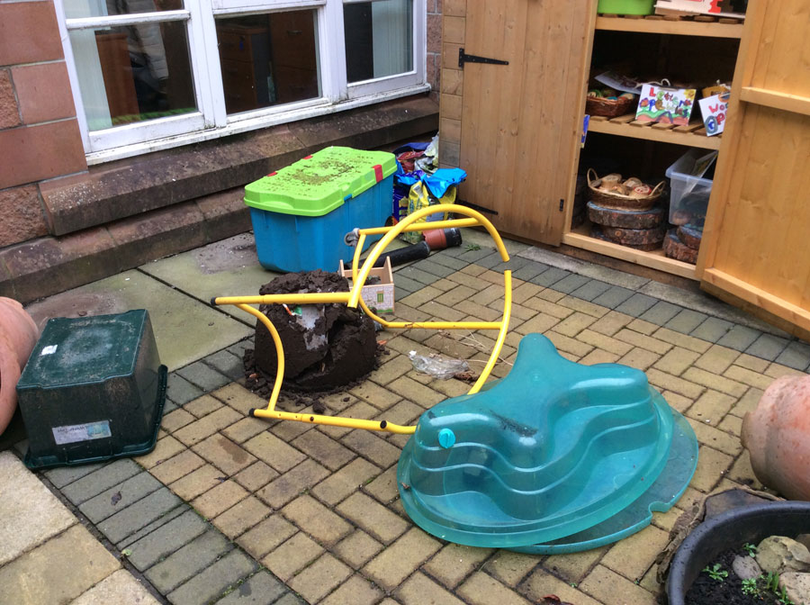 Holmston Primary garden vandalised