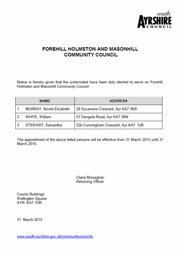 Forehill, Holmston and Masonhill Community Council Election Formal Results