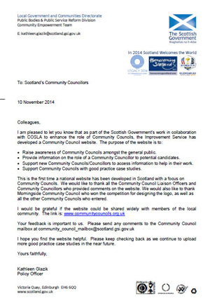 Scottish Government letter to Community Councils. November 2014