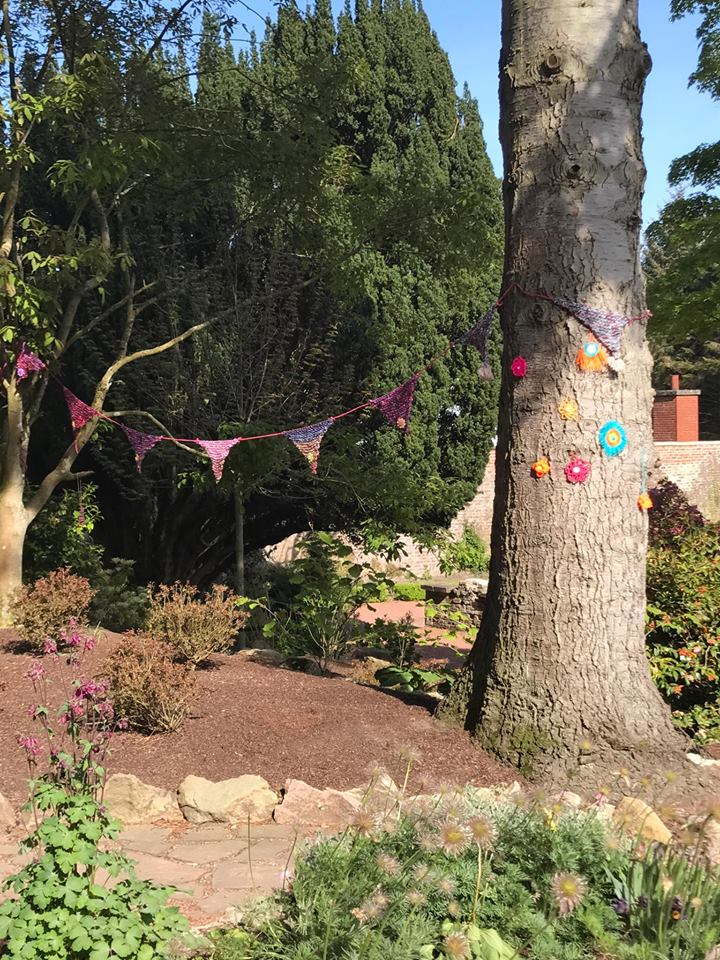 Bunting and woodland creatures for the recent 'yarnbomb' at Belliesle